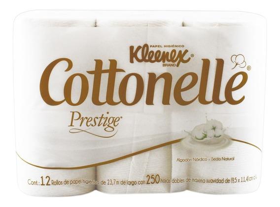 Higiénico Kleenex Cottonelle Prestige 12 Rollos De 250 Hd