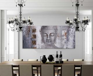 Cuadro Decorativo, Para Sala,recamara O Comedor, Buda Gris