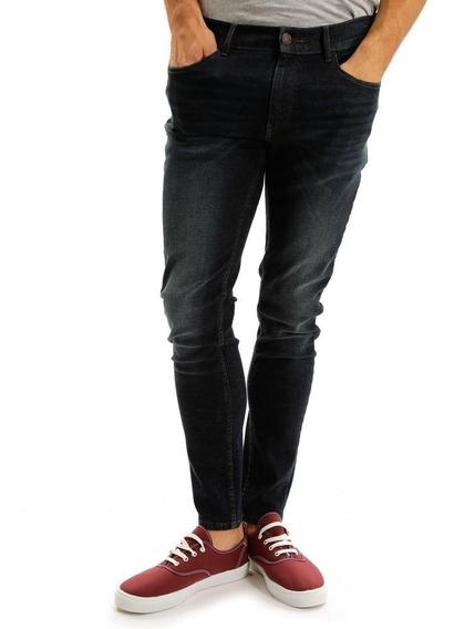 Pantalón De Mezclilla Skinny Azul Oscuro