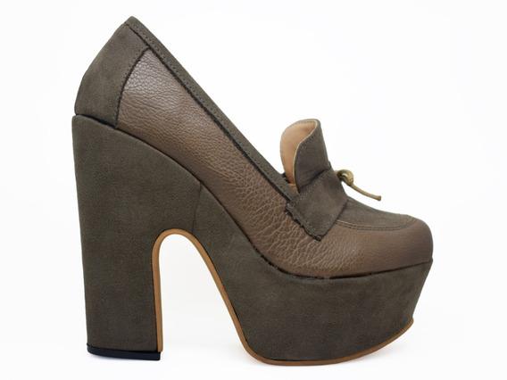 Zapato Mocasin Con Moño Plataforma Taco Palo