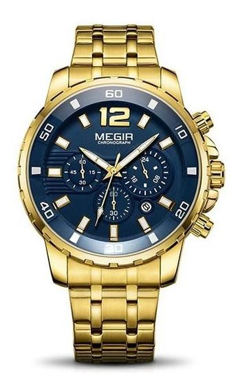 Relógio Masculino Dourado Megir Aço Inox Envio Imediato