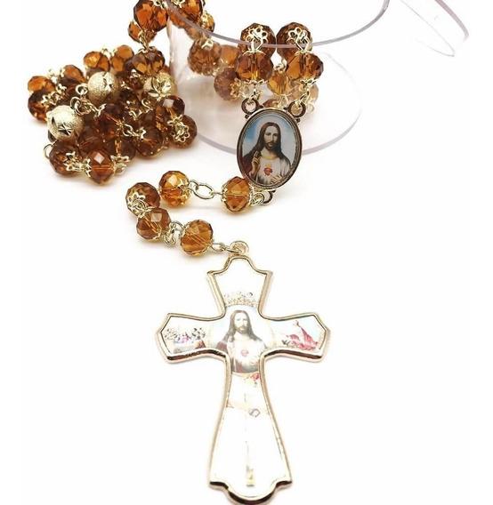 Terço De Cristal Sagrado Coração De Jesus Facetado