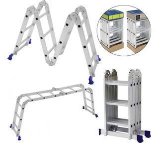 Escada Multifuncional Mor 4x3 Em Alumínio 12 Degraus Dobravel 3,36 Metros Resistente Aguenta 150kg
