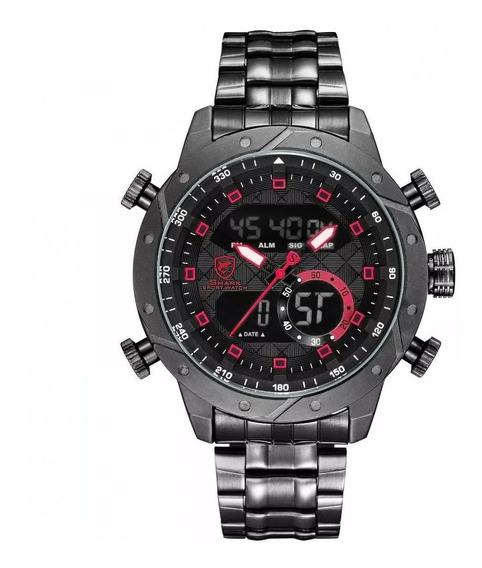 Relógio Masculino Shark Anadigi Sh-592 - Preto E Vermelho