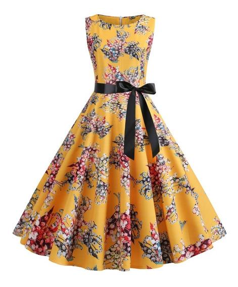 Verano Vintage Impresión Floral Vestido A-line