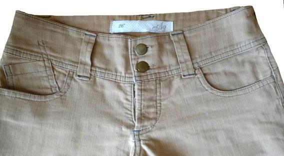Pantalon Largo De Jean Color Beige