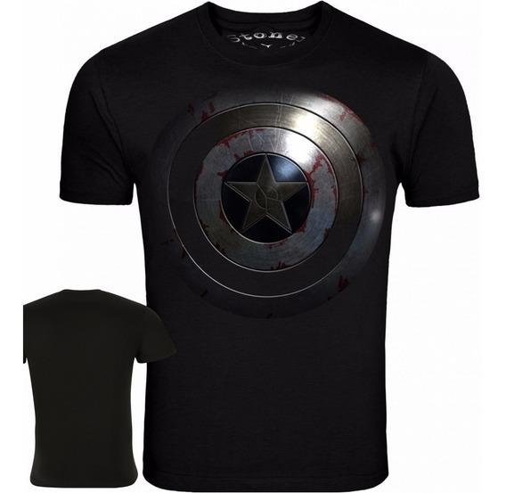 Camisa Camiseta De Herois - Capitão América Preta