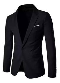 Blazer+calça Slim Fit Masculino Casual Preto Pronta Entrega