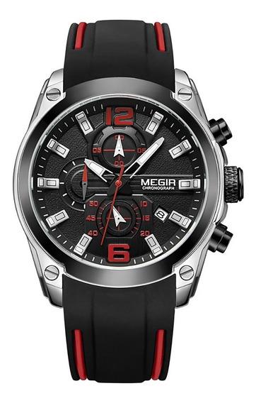 Megir 2063 Homens Esporte Relógio De Pulso Prata