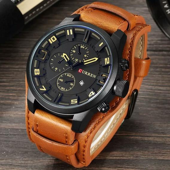 Relógio Masculino Curren 8225 Couro Bracelete Marron Bonito!