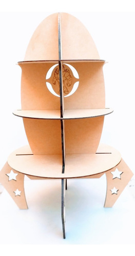 Portacupcakes Cohete 45cm - Mdf / Fibrofacil