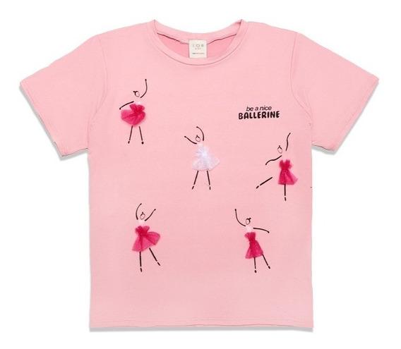 Playera Niña Estampado Bailarinas Manga Corta Rosa Lob