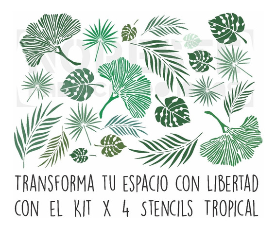 Pack X 4 Stencil Decoración Paredes Hojas Tropicales 50x60