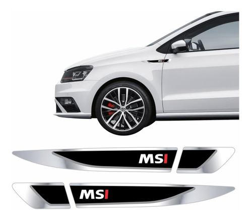 Par Emblema Adesivo Volkswagen Vw Polo Virtus Msi Resinado Cromado Aplique Lateral Res19