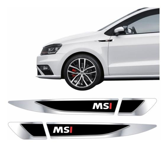 Par Emblema Adesivo Volkswagen Vw Polo Virtus Msi Resinado Cromado Aplique Lateral Res19 Fgc