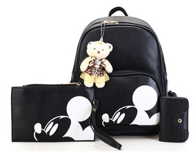 Mochila Do Mickey Mouse Kit 3 Peças Bolsa De Couro Sintético