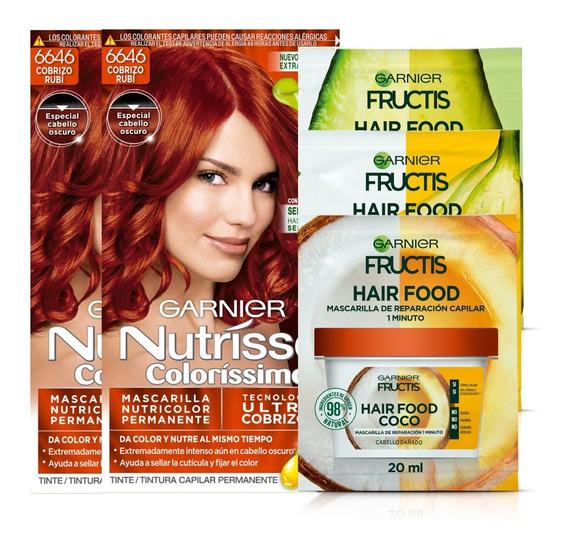 Pack Coloracion 6646 Cobrizo Rubí Rojo Nutrisse + 3x Hair