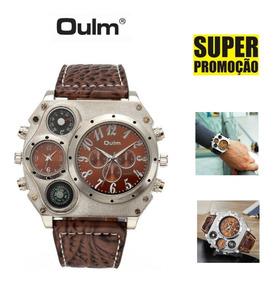 Relógio Masculino Militar Oulm Luxo C/ Bússola E Termômetro