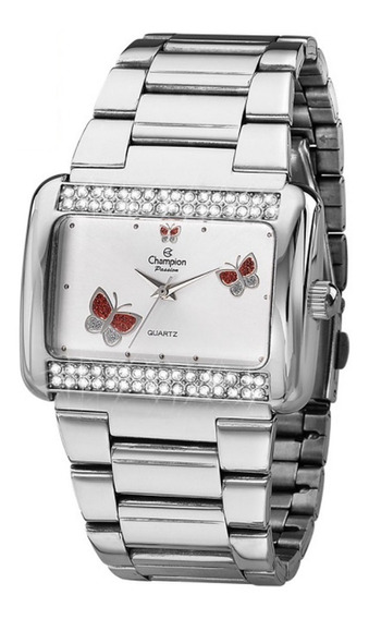 Relógio Champion Feminino Prateado Borboleta Ch24179d