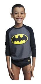 Camiseta + Sunga Batman Com Proteção Solar Uv 50+