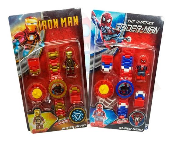 2x Relógio Digital Infantil Com Lego Homem De Ferro E Aranha
