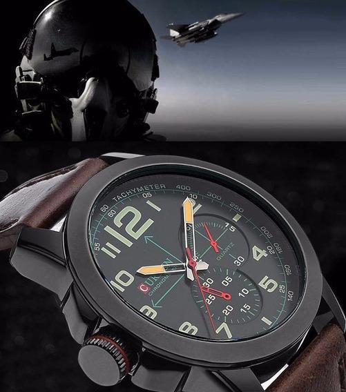 Relógio Masculino Estilo Militar Aviador Curren Modelo 8182