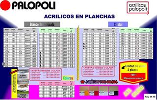 Acrilico Placa Esp 2mm 1.00x2.00 Blanco O Transparentecolada