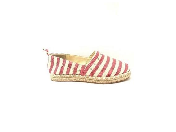 Zapato Mujer Alpargata Natacha Tela Rojo Y Blanco #1502