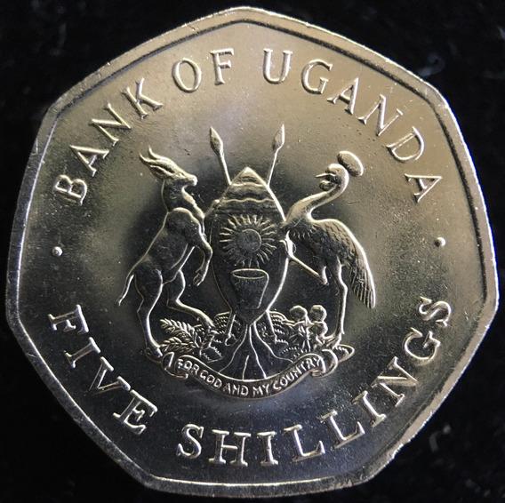 Uganda, 5 Shillings, 1987. Sin Circular