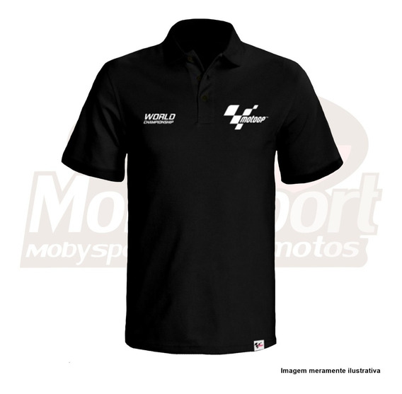 Camiseta Polo Oficial Moto Gp Racing Team Preta Com Nota