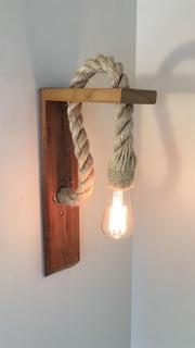 Arandela Luminaria Retro Madeira Corda Colonial Sisal