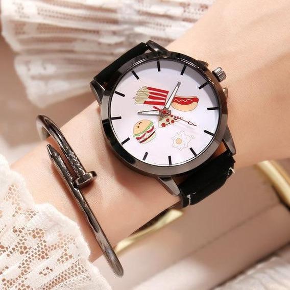 Reloj Fastfood Negro Extensible Piel Sintética Blanco