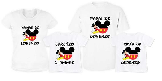 Kit 4 Camisetas Mickey Aniversário Infantil