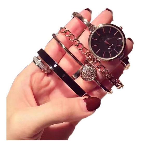 Mulheres Moda Redonda Analógico Quartzo Fivela Relógio E C