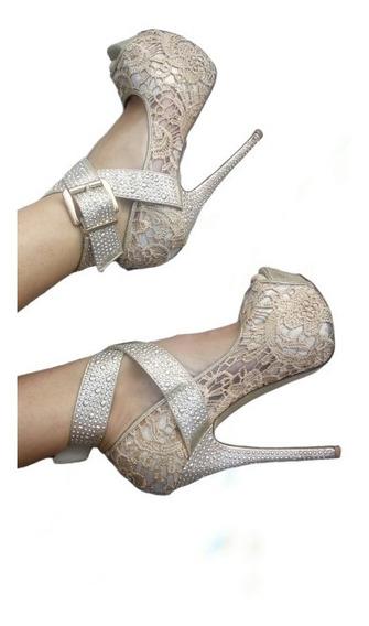 Zapatos Elegantes Taco Aguja C/brillos