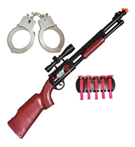 Set De Escopeta Con Sopapas Y Esposas Arma Juguete Niño