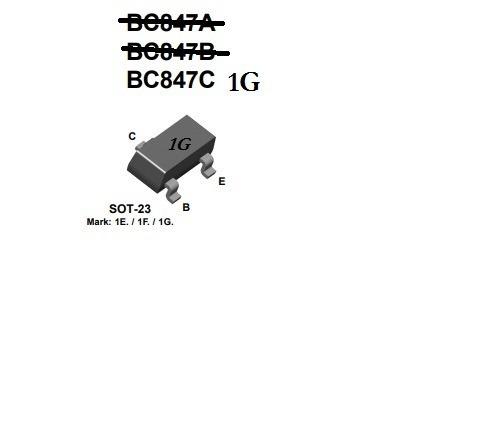 Transistor Smd 1g Bc847c Npn Uso Geral 100 Unidades