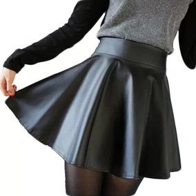 Hermosa Mini Falda De Cuero Sintético Color Negro Talla M