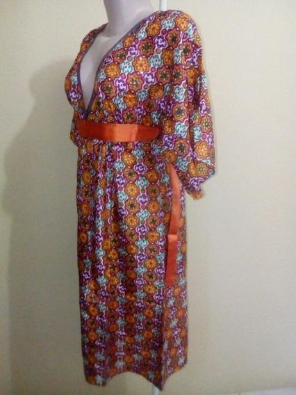 Vestido Bordado A Mão Antik Batik (100% Seda) Importado.