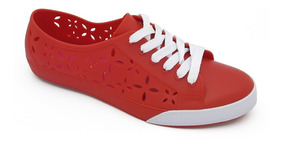 Tênis California Janahina Morena Cadarço Vermelho Ref. 141