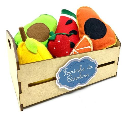 Imagem 1 de 8 de Comidinha Em Feltro Kit Pedagógico Frutas Legumes No Caixote