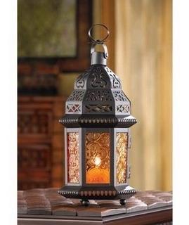 Candelabro Amber Moroccan Metalwork Hanging Candleholder