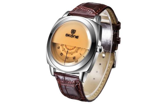 Relógio Importado De Luxo Semi-círculo Skone