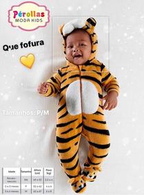 Macacão Infantil Pelúcia Tigre Bebê Tip Top