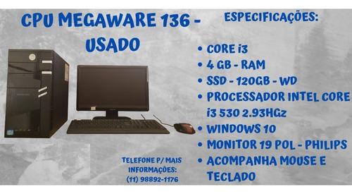 Cpu Megaware - Intel Core I3 - Ssd 120gb - 4 Ram + Monitor