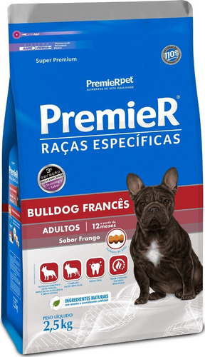Ração Premier Raças Cães Bulldog Adulto Frango 2,5 Kg