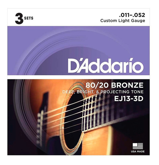 Encordoamento Violão Aço Daddario 011 052 Pack C/ 3 Ej13-3d