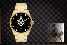 Relógio De Pulso Personalizado Maçonaria Maçon - Cod.1123