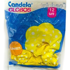 Globos Amarillos C/ Lunares Blancos X12un - La Golosineria