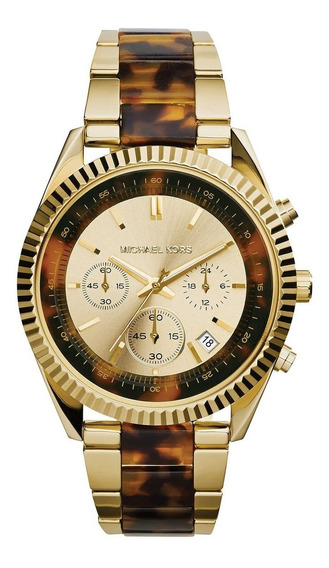 Relógio Michael Kors Mk5963 Orig Chron Anal Gold Tortoise